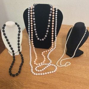 5 Necklace Lot Faux Pearls